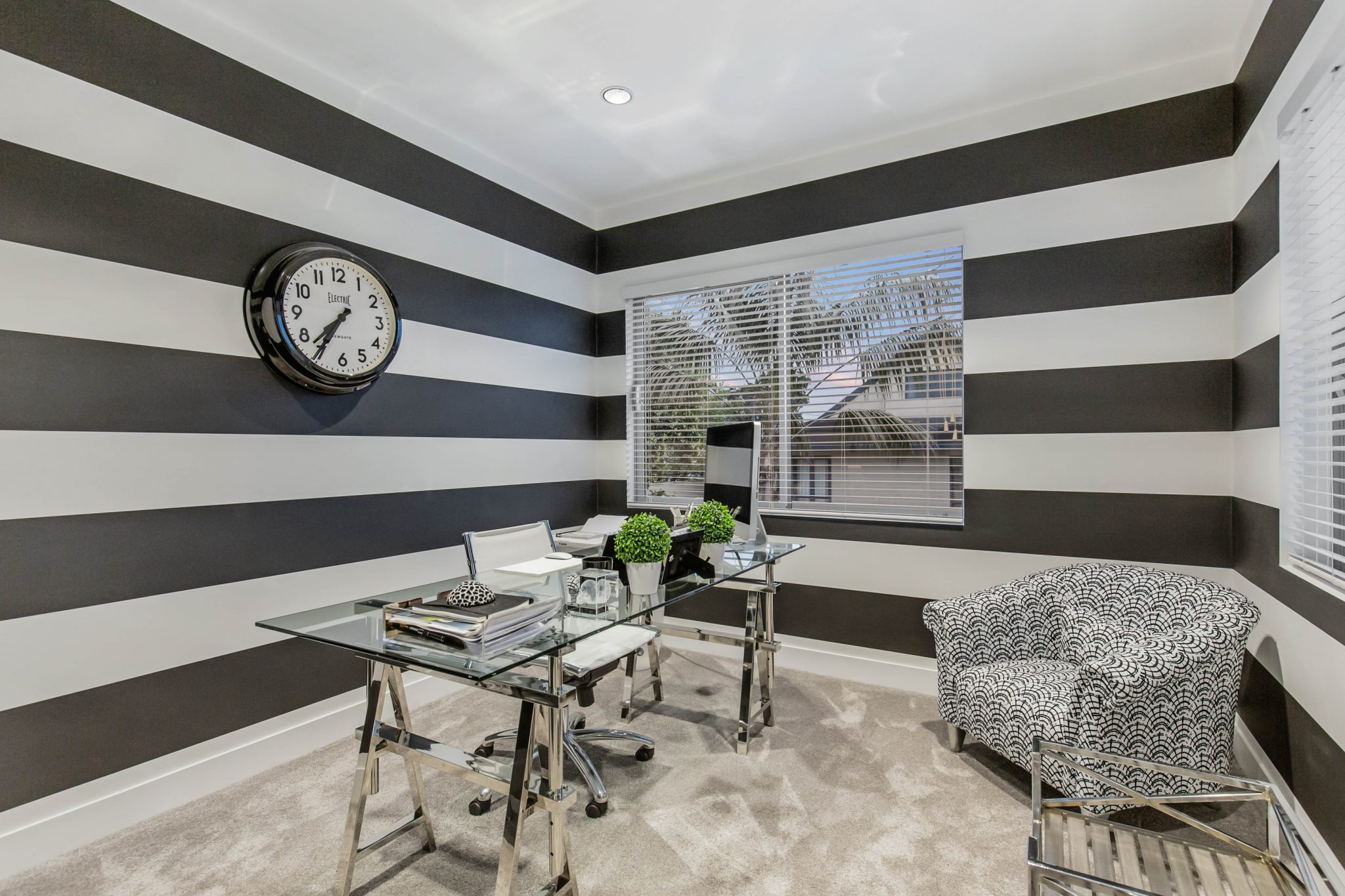 black white home office design